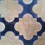 Dallage en pierre de Bourgognecabochons en croix Chassagne et Pierre Bleue Belge Finition adouci
