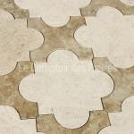 Dallage en pierre de Bourgognecabochons en croix Chagny clair et Lavignyfinition adouci