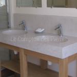 Vasque double en pierre de Bourgogne geige clair