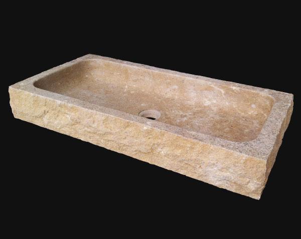Vasque Uzes en pierre de Bourgogne Doré Vieilli