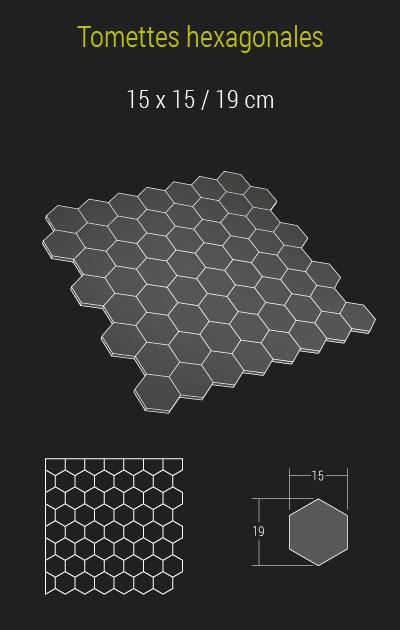Calepinage de nos tomettes hexagonales en pierre de bourgogne