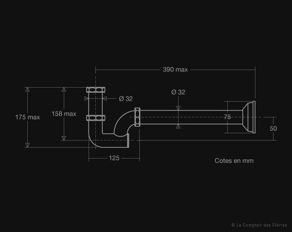 siphon colonne pour vasque le comptoir des pierres. Black Bedroom Furniture Sets. Home Design Ideas