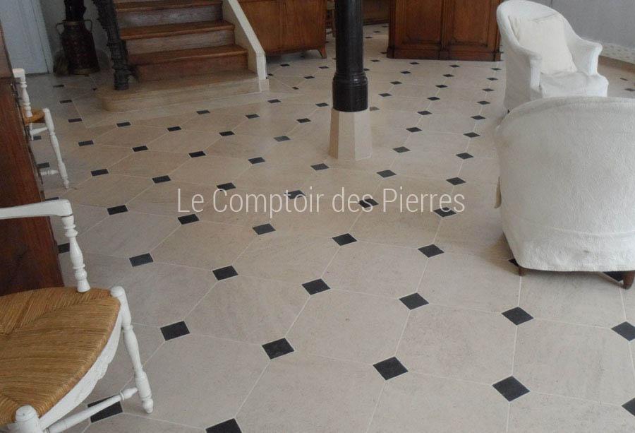 Dallage en pierre de Bourgogne à cabochons Adouci
