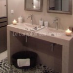 Plan double vasque et jambages en pierre de Bourgogne emission DECO - M6