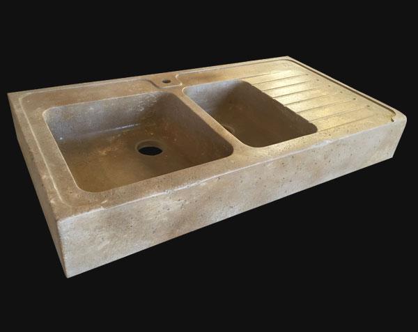 Evier en pierre de bourgogne bastide 2 bacs le comptoir des pierres - Evier cuisine en pierre ...