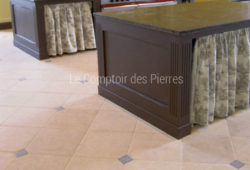 Flooring - Tiles with cabochons - Burgundy limestone
