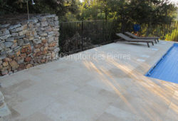 Paving in Burgundy limestone <br/>Semond cross cut with veins<br/>Monastère finish Widths of 40 cm and random lengths