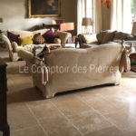 Tiles in Burgundy limestone Lanvignes Vieux Beaune finish Widths of 40 cm and random lengths