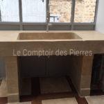 Evier sur mesure et jambages Bastide en pierre de Bourgogne Lanvignes Vieilli