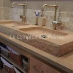 Vasque double en pierre de Bourgogne Charmot Doré Adouci