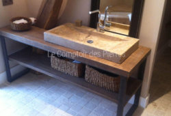 Goult washbasin in Burgundy limestone Lanvignes with antique patina