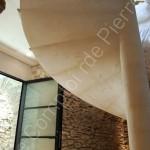 Solid stone staircase in Burgundy limestone Semond