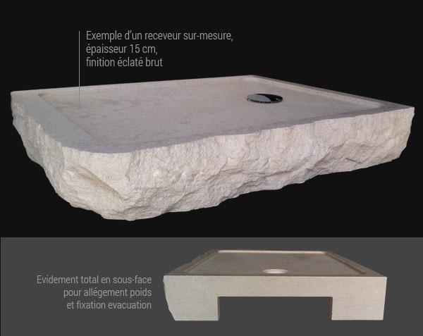 Custom-made Shower tray - Classic - in Burgundy stone
