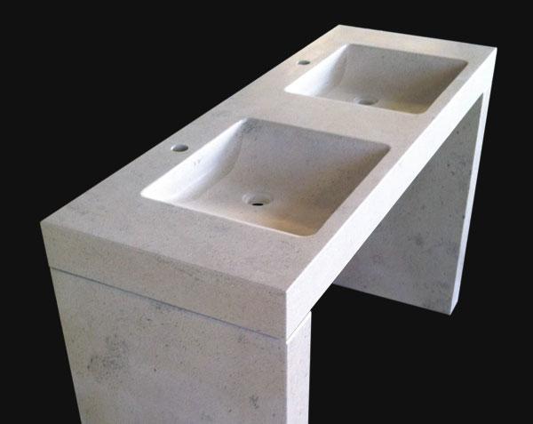 Double vasque Goult avec jambages en pierre de Bourgogne
