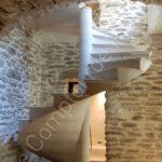Solid stone staircase in Semond Burgundy limestone