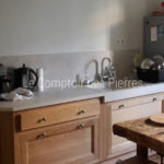 Custom-made Bastide sink and kitchen worktop Charmot light Honed finish