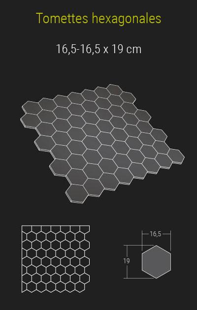 Calepinage des tomettes hexagonales en pierre de Bourgogne
