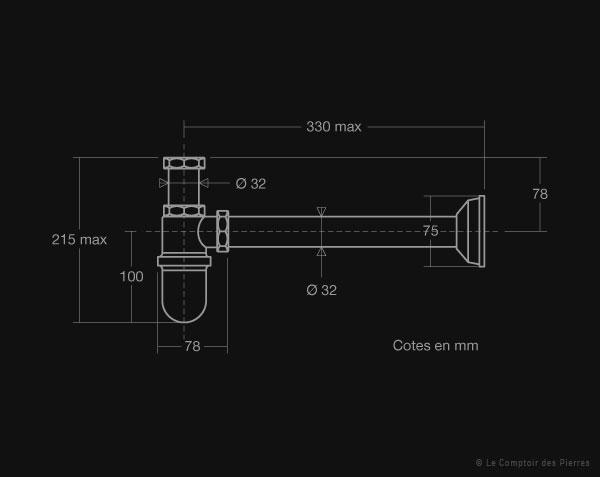 Siphon à réservoir pour évier ou vasque en pierre de Bourgogne