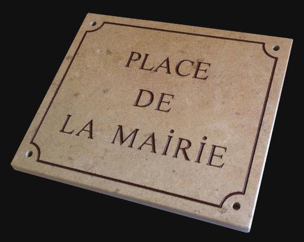 Plaque de rue gravée sur pierre de Bourgogne - Chassagne