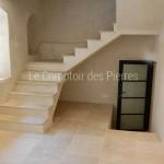 Escalier et dallage en pierre de Bourgogne