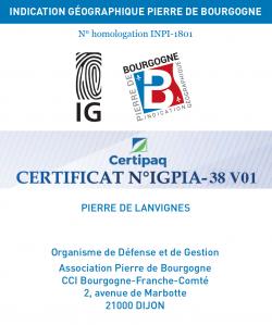 Certificat IG Pierre de Bourgogne