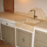 Aigues sink with embedded kitchen worktop in Burgundy limestone Charmot with veins