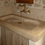 Senanque sink in Burgundy limestone Lanvignes with antique patina Aged brass tap