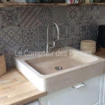 Bonnieux sink in Burgundy limestone : Charmot light Honed finish Satin nickel Citeaux tap