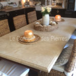 Table top in Burgundy limestone Lanvignes Aged finish