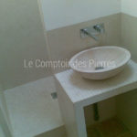 Valbonne washbasin in Burgundy limestone Charmot light Honed finish