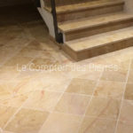 Flooring in Corton limestone Brushed finish 40 x 40 cm with edging