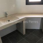 Vasque, plan vasque et jambages en pierre naturelle Charmot Clair Adouci