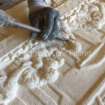 Stone carving details - The Lord's supper in Burgundy limestone