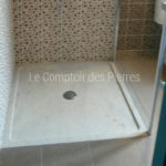 Classic shower tray in Burgundy limestone Charmot light Honed finish
