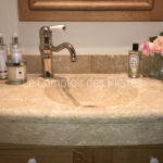 Custom-made washbasin in Burgundy limestone Lanvignes Aged finish