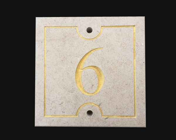 Numéro de rue - Remplissage Feuille d'Or - Pierre : Chassagne