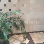 Flooring with cabochons in Burgundy limestone Showroom Carrières-sur-seine (78) - France